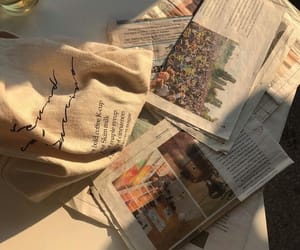 aesthetic, beige, and newspaper image