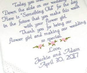 embroidered, wedding gift, and gift for flower girl image