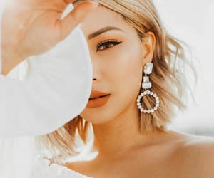 earrings, makeup, and whitw image