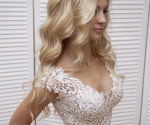 beauty, blonde girl, and bride image
