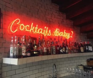 bar, Cocktails, and neon image