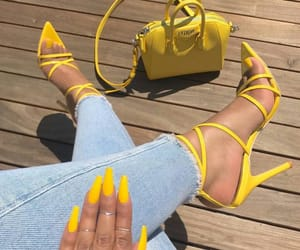 yellow, nails, and fashion image