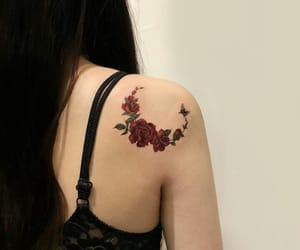 back, flowers, and ink image