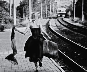 train and black and white image