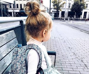girl, backpack, and child image