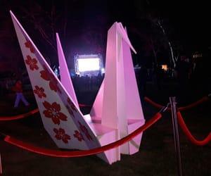 cherry blossom, festival, and origami image