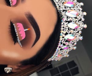 makeup, crown, and pink image