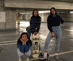 girl, friends, and skateboard image