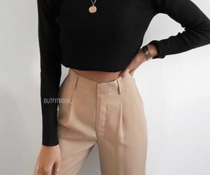 fashion, outfit inspiration, and beige pants image