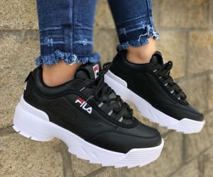 black, Fila, and sneakers image