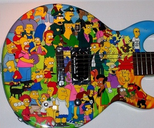 guitar, rock n' roll, and simpsons image