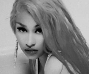 black & white, face, and nicki minaj image