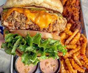 burger, cheese, and French Fries image