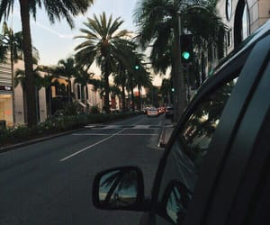 car, summer, and palm trees image