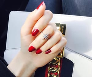 nail polish, red, and manucure image