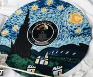 art, painting, and starry night image