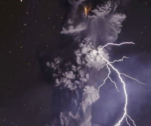 nature, volcano, and lightning image