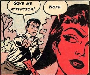 comic, red, and woman image