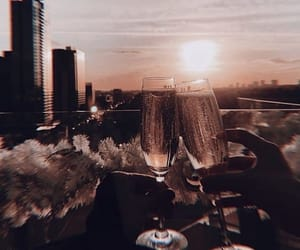 city, drink, and champagne image