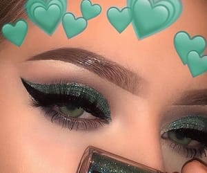 makeup, girl, and green image