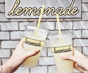 drink, lemonade, and yellow image