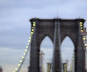 lights, bridge, and brooklyn bridge image