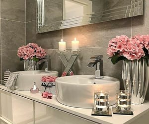 bathroom, design, and flowers image