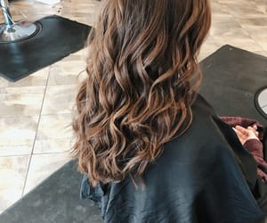 brown hair, brunette, and curls image