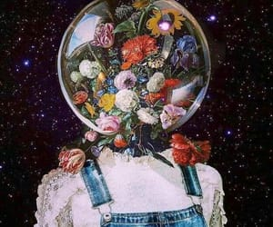flowers, art, and space image