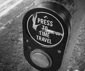 black white photo, crosswalk button, and press time travel image