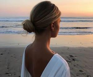 beach, blonde, and bun image