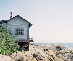 beach, house, and sea image