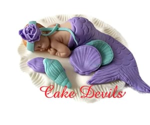 cake topper, mermaid party, and christening cake image