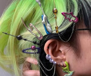 green, hair, and cyber image