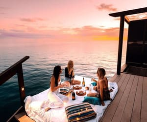 girl, friends, and sunset image