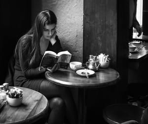 book, cafe, and girl image