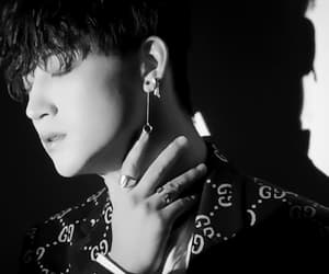 black and white, eyes, and kpop image