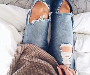 denim, fashion girl, and ripped jeans image
