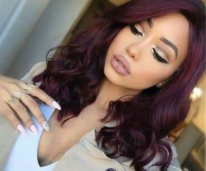 Lipsticks, make up, and purple hair image