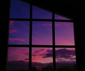 window, sky, and purple image