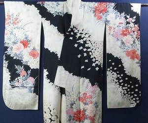black, kimono, and flowers image
