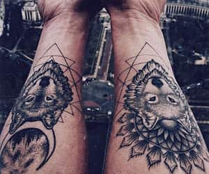 tattoo, wolf, and ink image