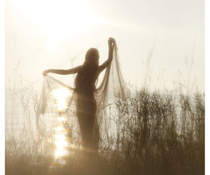 girl, sun, and nature image