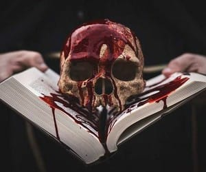 skull, blood, and book image