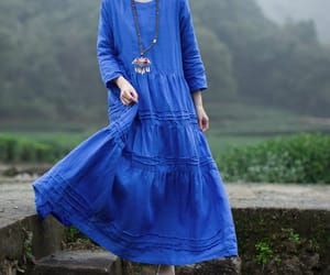 blue dress, etsy, and cotton dress image