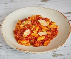 cheese, pasta, and salami image