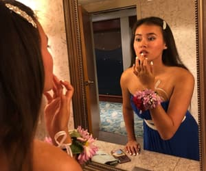 blue, dress, and prom makeup image