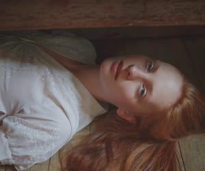 floor, girl, and redhead image