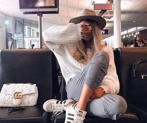 fashion, girl, and airport image