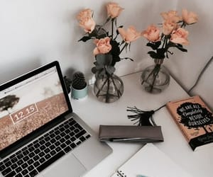 study, flowers, and book image